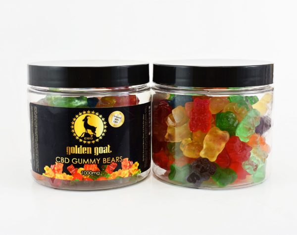 """1000nosugar 1 scaled 1 - Fruit Bear gummies infused with premium quality cannabidiol (CBD). Delicious, Fruity, Chewy, Soft & Sweet. THC Free. Gluten Free. Total of 1000mg of CBD per 16oz. Jar <em>These gummies contain melatonin to aid with sleep. Try our <a href=""""https://goldengoatcbd.com/product/cbd-gummy-worms-1000mg-16oz/"""">CBD Gummy Fruit Worms</a> for a melatonin-free option.</em>"""