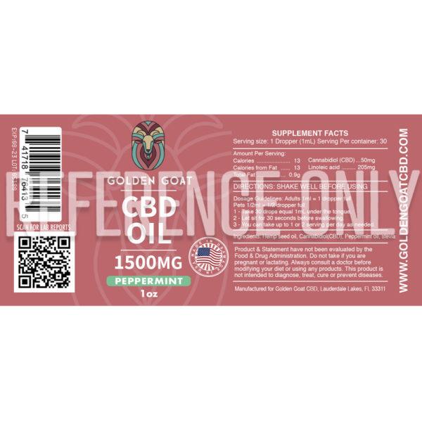CBD Oil - 1500mg - 1oz - Peppermint - Label