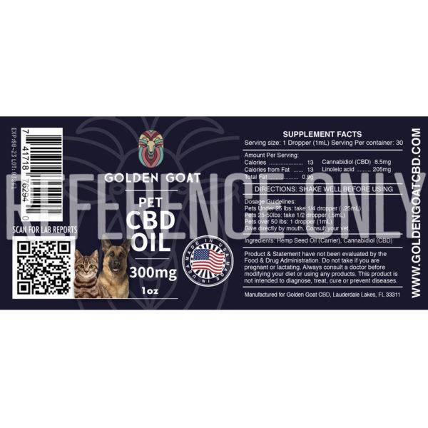 CBD Hemp Oil for Pets - 1oz - Label
