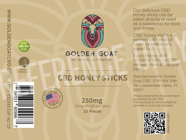 GG HONEY STICK label - Delicious pure honey with 250mg of premium CBD per jar. Twenty-five honey sticks with a medium-dose (10mg) of CBD in each. Great in tea, on pancakes and as a snack for on-the-go. 25ct