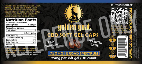 SOFT CAPSULES broadSpectrum label lrz2 - Our Broad Spectrum CBD Gel Capsules are easy to take and easy on the pallet. Each capsule has 25mg of cannabidiol and is certified for potency. Broad Spectrum CBD, unlike Full Spectrum, contains just CBD ensuring that THC is completely minimized allowing for the benefits of CBD with the least possible trace of anything else.