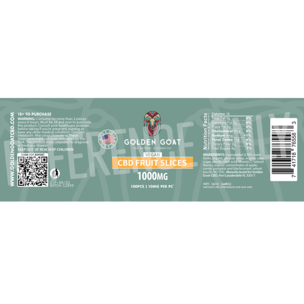 CBD Vegan Fruit Slices - 1000mg - Label