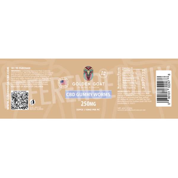 CBD Gummy Worms - 250mg - Label