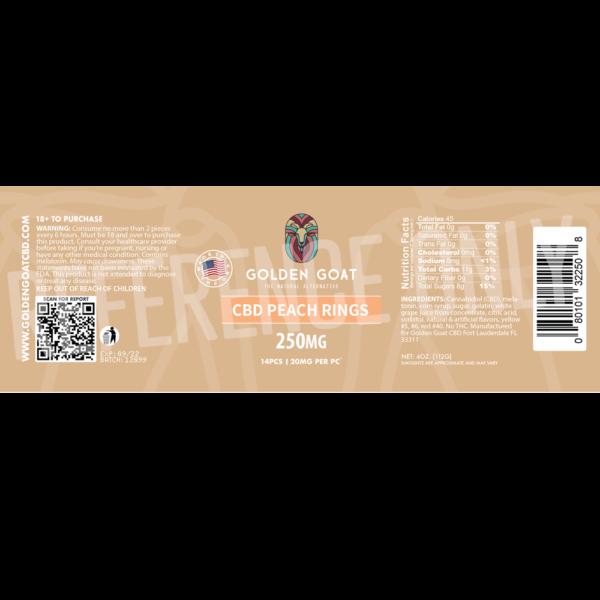 CBD Peach Rings 250mg Label