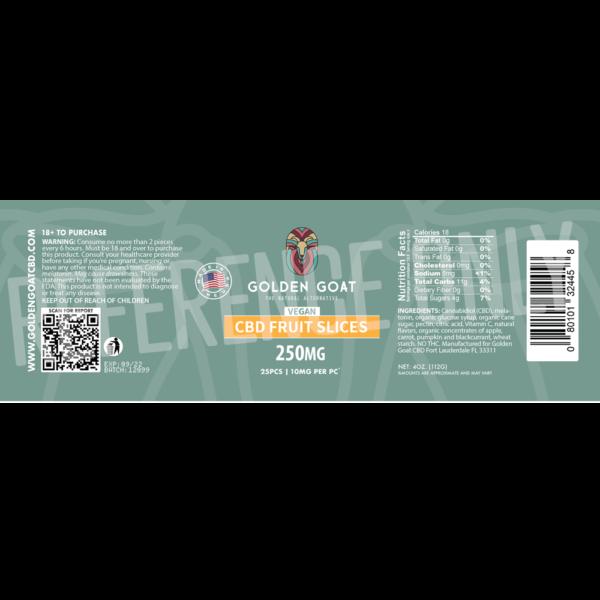 CBD Vegan Fruit Slices - 250mg - Label