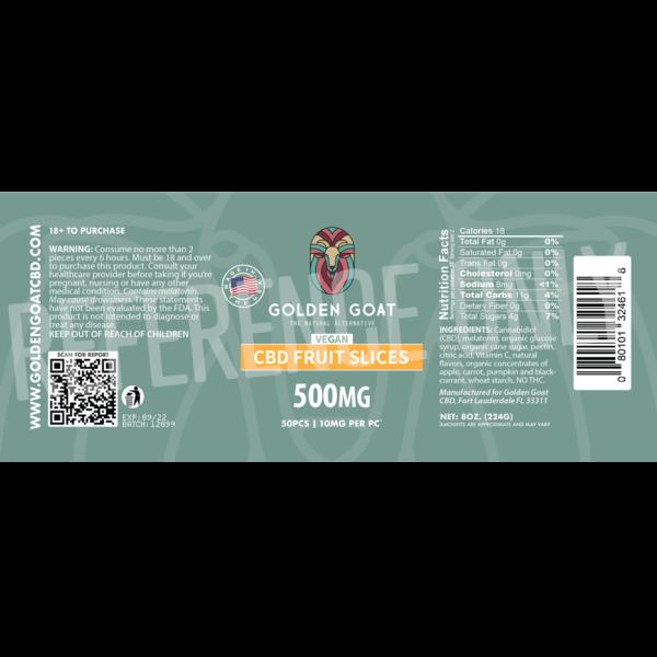CBD Vegan Fruit Slices - 500mg - Label