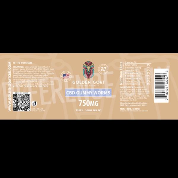 CBD Gummy Worms - 750mg - Label