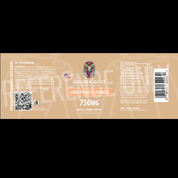 CBD Peach Rings 750mg Label