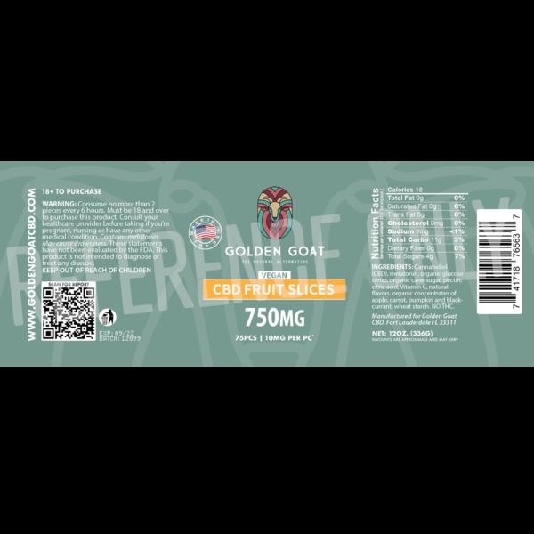 CBD Vegan Fruit Slices - 750mg - Label
