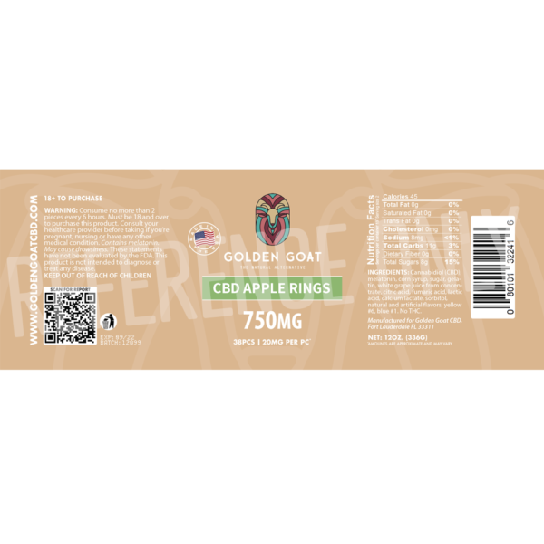 CBD Apple Rings - 750mg - Label