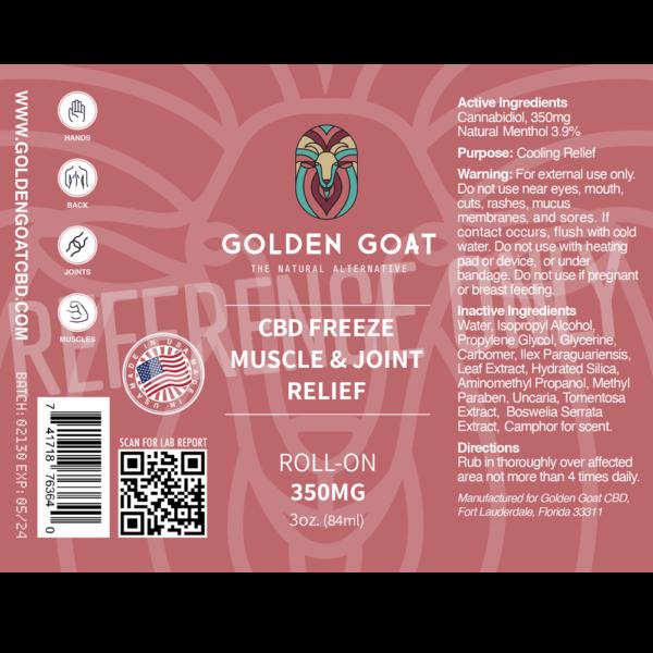 CBD Pain Freeze - 350mg - 3oz - Label