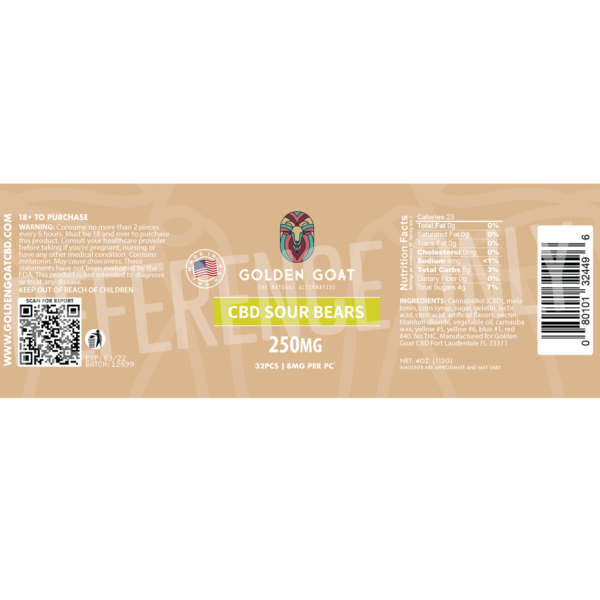 CBD Sour Bears - 250mg - Label