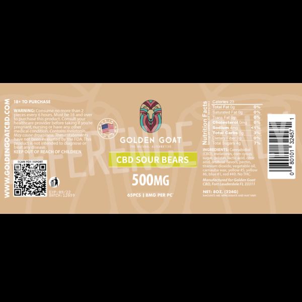 CBD Sour Bears - 500mg - Label