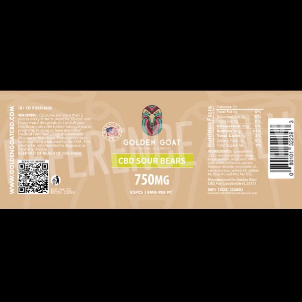 CBD Sour Bears - 750mg - Label