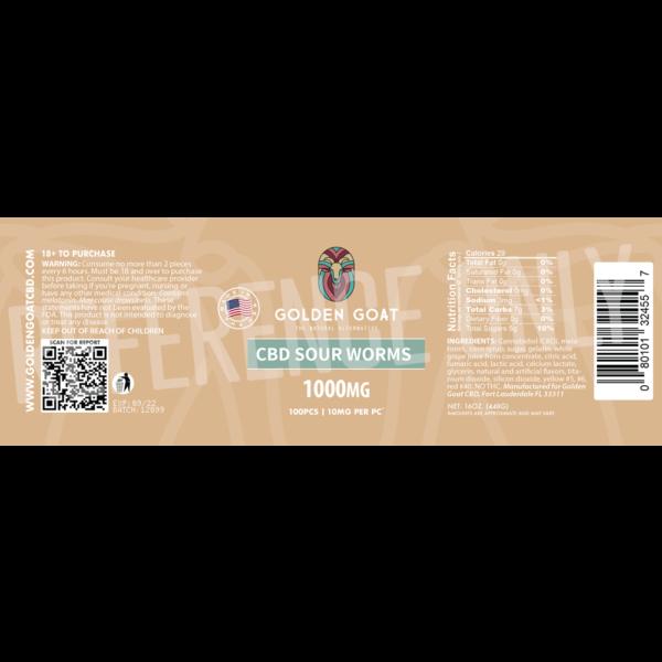 CBD Sour Worms - 1000mg - Label