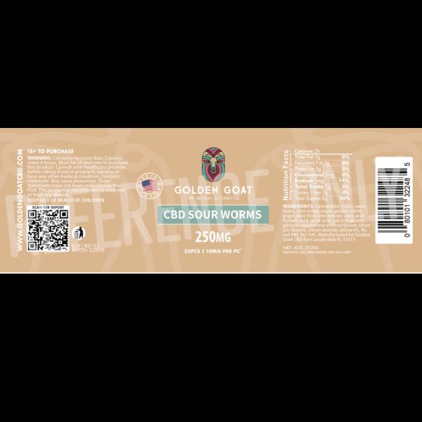 CBD Sour Worms - 250mg - Label