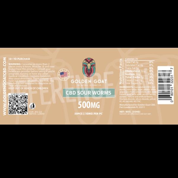 CBD Sour Worms - 500mg - Label