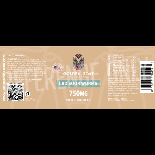 CBD Sour Worms - 750mg - Label