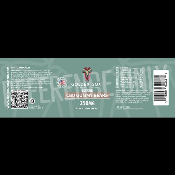 CBD Vegan Fruit Bears - 250mg - Label