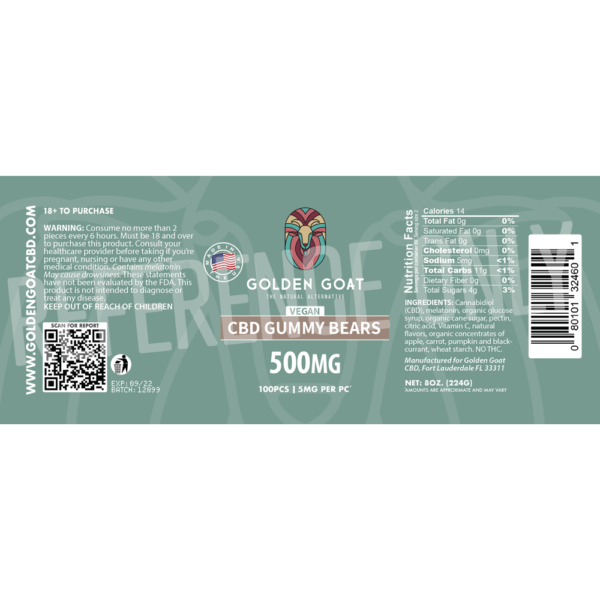 CBD Vegan Fruit Bears - 500mg - Label