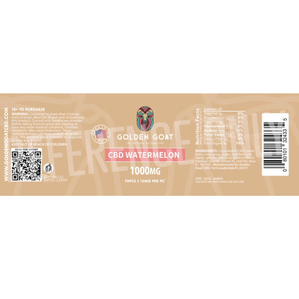 CBD Watermelon - 1000mg - Label