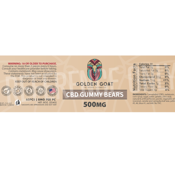 CBD Gummy Bears - 500mg - Label