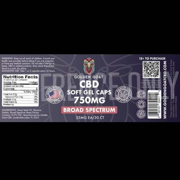 CBD Broad Spectrum Gel Caps - 750mg - 30ct - Label