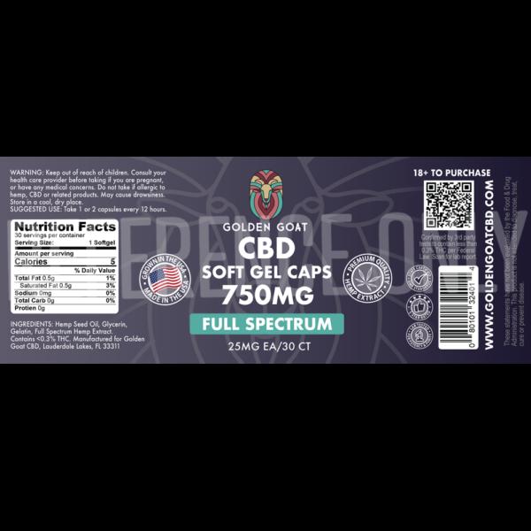 CBD Full Spectrum Gel Caps - 750mg - 30ct - Label