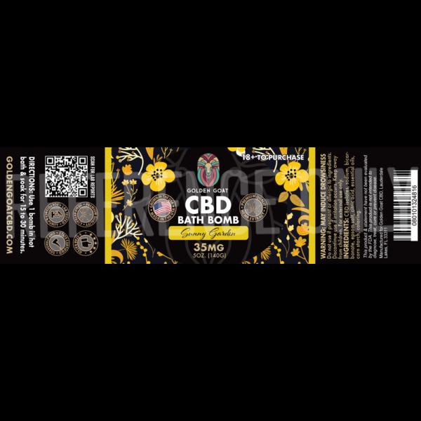 CBD Bath Bomb - 35mg - Sunny Garden - Label
