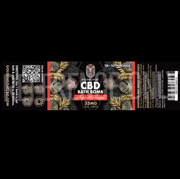 CBD Bath Bomb - 35mg - Tropical Vaction - Label