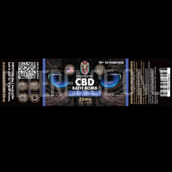 CBD Bath Bomb - 35mg - Wild Adventure - Label
