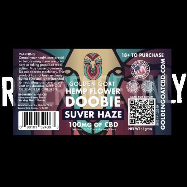 CBD Hemp Flower Doobie - 100mg - Suver Haze - Label