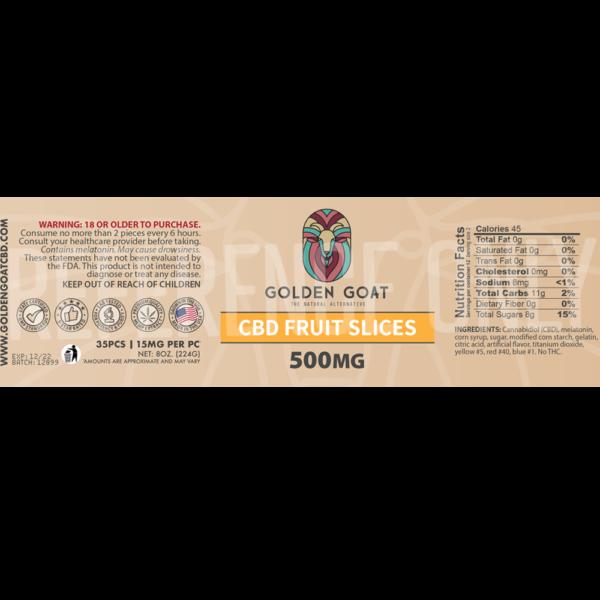 CBD Gummy Fruit Slices - 500mg - 8oz - Label