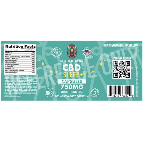 CBD+Sleep Capsules - 750mg - Label