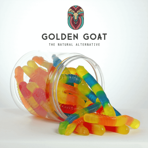 cbd sugar free gummy worms 1000mg open jar