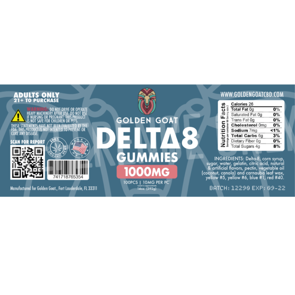 """Golden Goat Delta 8 Sour Bears CBD Gummies 1000mg sb WATERMARKED label - Our delicious Delta 8 sour bears are infused with 1000mg of <a href=""""https://goldengoatcbd.com/your-master-guide-to-delta-8-thc-in-2021/"""" target=""""_blank"""" rel=""""noopener"""">Delta 8</a> THC* per 16oz jar and may provide a therapeutic, cannabis-like effect. Derived from legal hemp, <a href=""""https://goldengoatcbd.com/your-master-guide-to-delta-8-thc-in-2021/"""">Delta 8 THC</a> has been reported to provide a feeling of relaxation, increased appetite, and a sense of well-being.** Delta 8 products convert to potency through digestion, vaping, and smoking. 1000mg of Delta 8 per Jar, 10mg per Gummy† <div style=""""font-size: 12px;""""><em>*This product contains a total delta-9 tetrahydrocannabinol concentration that does not exceed 0.3% on a dry-weight basis. **These statements have not been evaluated by the FDA. This product is not intended to diagnose, treat or cure any illness. Do not use this product if you are likely to take a test for THC. †Count is approximate. Results may vary. PLEASE SEE WARNINGS AND LEGALITIES BELOW</em> <div style=""""font-size: 12px; margin-top: 3em;""""> <h5>WARNING:</h5> <em>USE RESPONSIBLY. DO NOT DRIVE OR OPERATE ANY MACHINERY WHILE USING THIS PRODUCT. DO NOT TAKE MORE THAN THE AMOUNT RECOMMENDED BY YOUR DOCTOR.</em> Consult a physician before using this product. Do not use if pregnant, nursing, or if you have any diagnosed or undiagnosed health conditions. Must be 21 years or older to purchase or use. Delta 8 may affect blood pressure, heart rate, and/or intraocular pressure in some people. If you have any known or unknown heart, blood pressure, eye, eye pressure, or similar/related issues, do not use this product unless recommended by a doctor. KEEP OUT OF REACH OF CHILDREN. <h5>LEGALITIES:</h5> <a href=""""https://www.congress.gov/bill/117th-congress/senate-bill/1005/text?q=%7B%22search%22%3A%5B%22Hemp-derived+Delta+8%22%5D%7D&r=3&s=1"""" target=""""_blank"""" rel=""""noopener"""">Hemp-derived Delta 8<"""