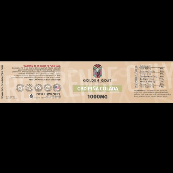 CBD Piña Colada gummies 1000mg-pina-label